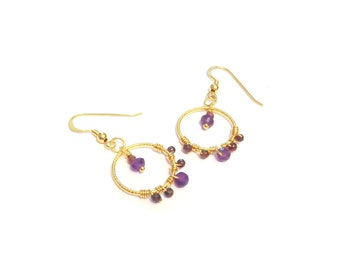 Gold hoop earrings - Garnet and Amethyst