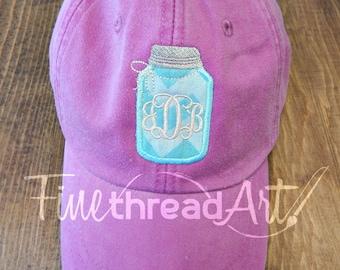 LADIES Mason Jar Applique Monogram Baseball Cap Hat LEATHER strap Mom Bridesmaid Bride Bachelorette Pigment Dyed Chevron