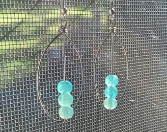 Turquoise stone pea pod earrings