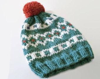 Knit fair isle hat, pom pom hat Hand Knit Beanie, Sea Green- Cream -Orange beanie, chunky woman hat, wool hat, winter accessory, warm hat