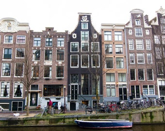 Amsterdam, Architecture, Canals, Homes, Neutral, Travel, Canal Homes, Windows, Facade, Boat, Fine Art, Wall Art, Print, Photography, Dutch