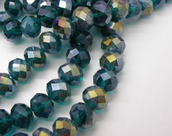 35 beads glass crystal 10 x 8 mm Abacus has faceted blue green highlights a gold