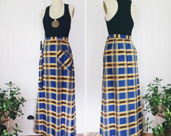 1970's vintage cotton high waisted plaid maxi wrap skirt w pockets