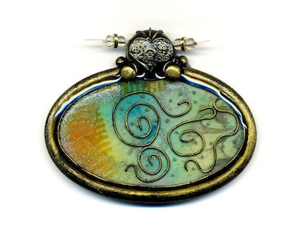 Pendant of polymer clay - Statement unmounted pendant Polymer clay pendant