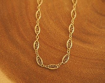 14k Gold Swirl Oval Chain Dainty Anklet/ Real Gold Anklet/ Real Gold Jewelry/ Dainty Jewelry/ Simple Gold Anklet