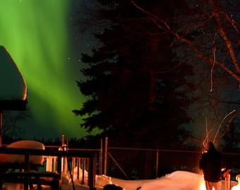 The wonder of the northern lights in the Saskatchewan wilderness, Besnard Lake, Sk