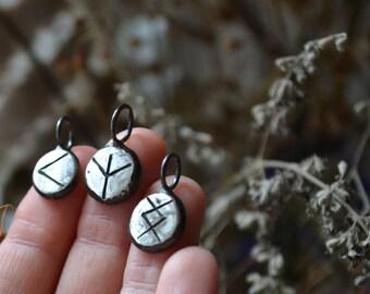 Your Custom Molten Silver Rune Drop Pendant
