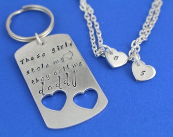 Father Daughter Necklace - Daddy's Girl Necklace - Father Daughter Jewelry - Father Daughter Keychain and Necklace - Daddy Daughter Necklace