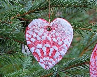 Pottery handmade Heart ornament Romantic gift, Red heart, Gift for her