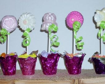 Spring Flower lollipops in an edible flower pot