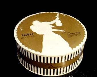 Vintage 1940s Tabu by Dana 4.25 oz Body Sachet Perfumed Dusting Powder After Bath Powder