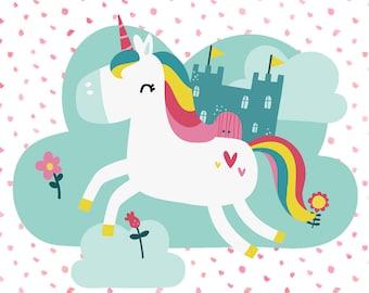 Unicorn Art. Unicorn Wall Art. Unicorn Digital Print. Playroom Art. Printable Unicorn Art. Unicorn Bedroom Decor. Cute Unicorn Art. Unicorn