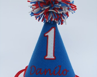Boys Birthday Party Hat -Baby Boy Birthday Party Hat- Blue And Red Birthday Hat - Free personalization