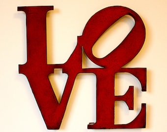 """Love wall art metal sign - Choose 15"""" tall OR 24"""" tall - Choose your color with rust accents patina - love sign art - choose Size and Color"""