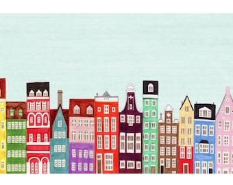 Combined Colorful European Buildings Skyline Mega Illustration Fine Art Poster Print: Scandinavian, Copenhagen, Amsterdam, Venice, Stockholm