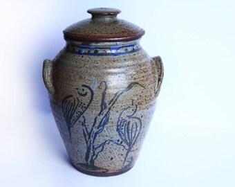 Lidded with handles Salt Glaze Storage Stoneware Cobalt Blue Birds One gallon Pottery
