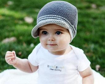Newborn Hat, Baby Boy Hat, Crochet Baby Hat, Baby Newborn Hat, Newsboy Hat, Grey, Newborn Prop, Boy Newsboy Hat, Baby Boy