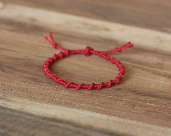 Red spiral bracelet, macrame bracelet, hippie boho, stack bracelet, gift for her, valentines gift, elegant bracelet