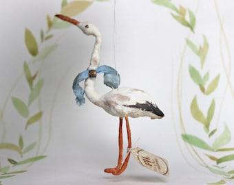 AUFTRAGSARBEIT ++ Nostalgischer Christbaumschmuck Wattefigur Storch Ornament Spun Cotton