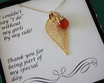 Bridesmaid Gift Gold Leaf, Gemstone Necklace, Real Leaf Necklace, Gold Necklace,Real Leaf, Thank you card