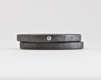 Oxidized One Tiny Diamond Ring Set - Modern Wedding - Engagement - Rough Finish Blackened Sterling Silver - Ethical