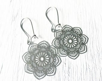 Mandala Earrings, Mandala, Wholeness, Healing Energy, Spiritual Journey, Meditation, Spiritual Healing, Stainless Steel, Symbolic