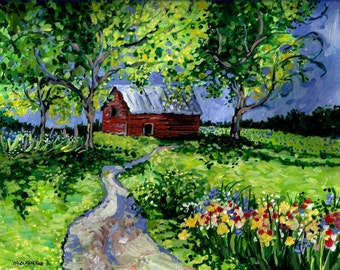 "LANDSCAPE PRINT of my original painting,""Little Red Barn"" ,Fine Art paper, 8x10,Countryscape,Flowers,Fields,Summertime, Patty Fleckenstein"
