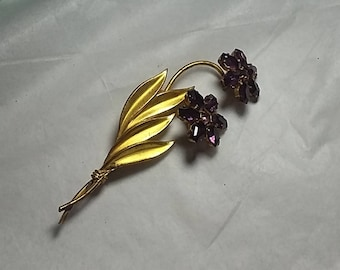 Vintage Novelty Brooch Purple Flowers that Move, Signed Czechoslovakia