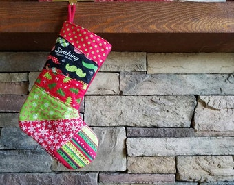 Red and Green Patchwork Christmas Stocking OOAK Stocking Red Green and White Christmas Stocking Quilted Stocking