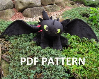 Digital Download: Toothless Plush Pattern Night Fury Dragon **PATTERN**