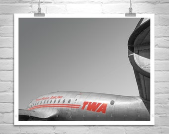 TWA Aviation Decor, Gift for Pilots, TWA Constellation Airplane Art, Aircraft Photography, Aeronautical Art, Vintage Airplane Picture