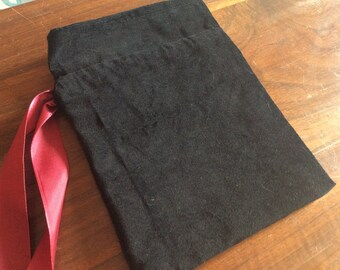 Black Velveteen Tarot Pouch - 100% cotton, deck storage, tarot storage