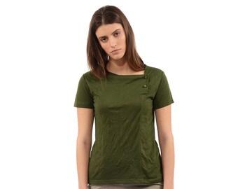 womens shirt - Womens tops - summer top - cotton shirt - short sleeves top - green blouse - summer blouse