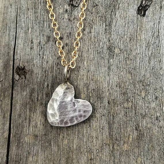 Rustic Silver Heart Love Charm Necklace on a Gold Filled Chain.  Valentines Day Gift.