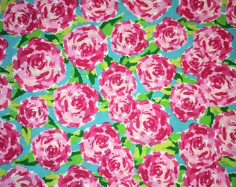 Fabric Traditions Rose Hot Pink Fabric 1 Yard First Impressions Lilly Pulitzer INSPIRED Style