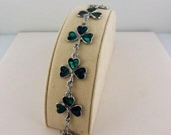 Vintage Abalone Shell Irish Shamrock St. Patrick's Day Bracelet