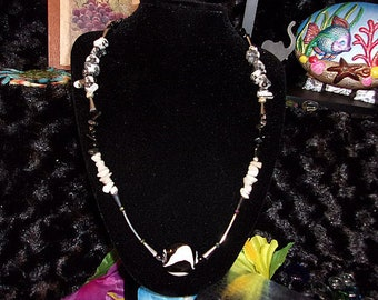 Black and White Gemstone Jewelry Set, Snow Quartz, Zebra Jasper, Obsidian, Women's Necklace, Bracelet, Earrings, Gifts for her, Jewelry Set