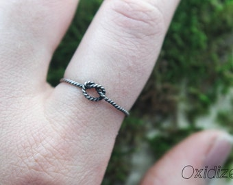 Rope Knot Ring | tiny stacking ring | thin stack ring | Rope ring | Silver stacking ring | Silver knot ring | Oxidized knot ring