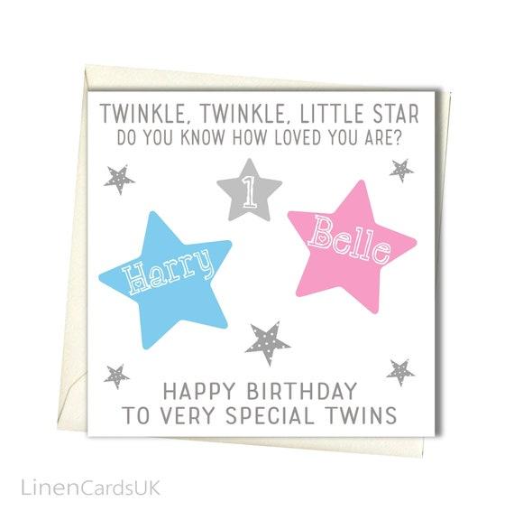 personalised twins birthday card twins first birthday card