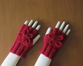 Fingerless Gloves with Flower, Hand Knitted in Burgundy