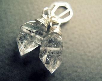 Herkimer Diamond Earrings - Sterling Silver Crystal Earrings - Herkimer Diamond Jewelry - Raw Crystal Earrings - Crystal Dangle Earrings