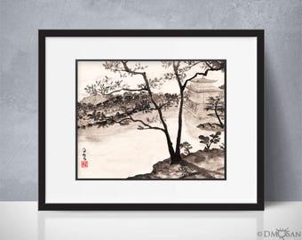Kyoto, Japan - sumi-e watercolor painting - 8x10 (Print)