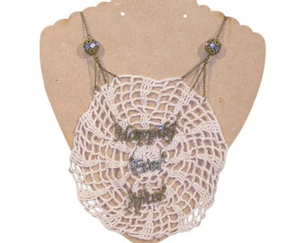 CLEARANCE Happily Ever After Crochet Doily Necklace