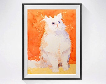 Persian cat artwork, Fathers day Sale, Persian kitten, Kitty cat painting, orange print, Watercolor, Animal illustration, Cat watercolour