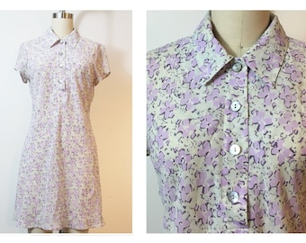 Lavender Floral Print Sheer Georgette Button Down Dress Small 90s Vintage