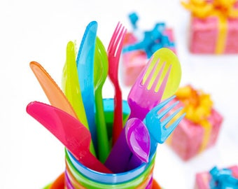 Utensils Rainbow Utensils Rainbow Party Utensils Camping Gear Plastic Utensils 18 Piece Set Forks Spoons Knives Tableware Table Utensil Set