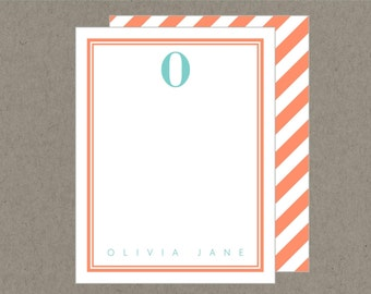 Set 20 Preppy Initial Personalized Flat Note Cards with Envelopes - Orange and Aqua -  Social Stationery