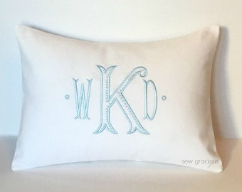 Chinoiserie Monogram Pillow Cover. Baroque font made to fit a 12x16 Decorative Throw Pillow. Wedding Gift. Baby Baptism. Special Occasion
