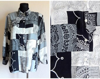 Vintage 80s 90s Patchwork Print Blouse Gray White Black Abstract Blouse Women's Clothing Padded Shoulders Long Sleeve L Size