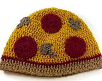 Pizza Hat- Crochet Pizza Hat- Food Hat- Crochet Hat- Photography Prop- Photo Prop- Pizza- Pizza Slice- Kawaii- Gag Gift- Pizza Beanie